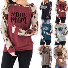 Plus Size Sweatshirt Women's Floral Printed Long Sleeve Pocket Pullover Hoodies sweatshirt female