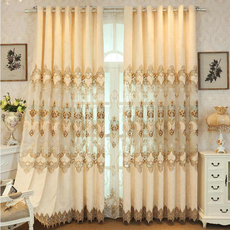 Beige Hollow Embroidered Window Curtains for Living Room High-grade Chenille Semi-shading Curtain Europe  Royal Home Decor 112#4