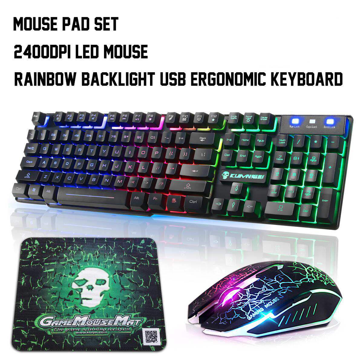 Colorful Backlight USB Wired Gaming Keyboard And Mouse Set T6 2400DPI LED Gamer Computer Mechanical Gaming Keyboard Combo
