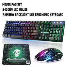 Colorful Backlight USB Wired Gaming Keyboard and Mouse Set T6 2400DPI LED Gamer Computer Mechanical Gaming Keyboard Combo(China)