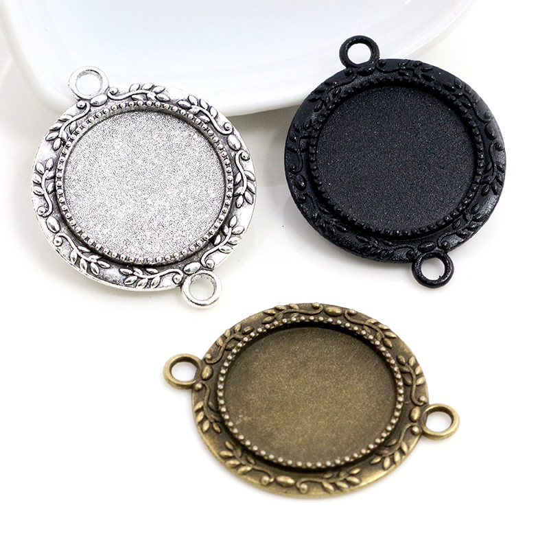10pcs 20mm Inner Size Antique Silver Plated Bronze Black Classic Style Cabochon Base Setting Charms Pendant