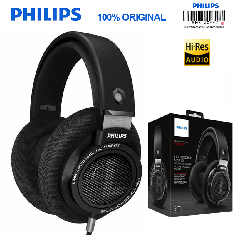 Professional Philips SHP9500 Headphones with Pure Sound Quality 3 Meter Long HIFI Headset for Xiaomi MP3 Huawei image