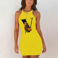 Sexy Nightwear Sleepwear Nightgown Night Shirts Summer Women 26 English Alphabet Print Pack Hip Nightie Yellow Night Dress 4