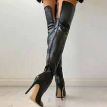 Black Sexy Over The Knee Boots Women High Heels Shoes Ladies Thigh High Boots Spring Leather Long Boots Female Shoe Plus Size 43