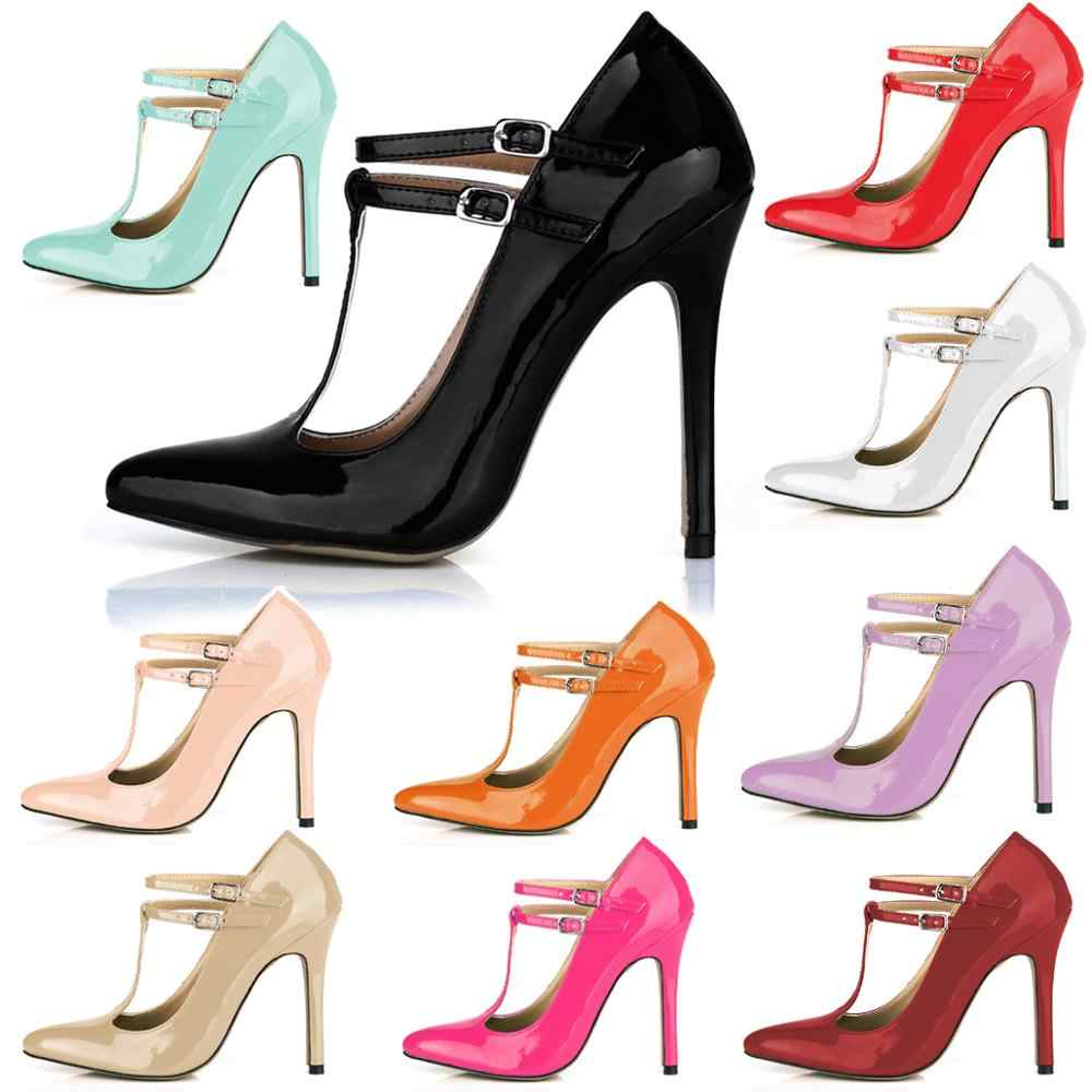 CHMILE CHAU Perle PU Sexy Party Gress frauen Schuhe Spitz Stiletto High Heel T-Strap Pumps Schnalle zapatos Mujer 0640-i