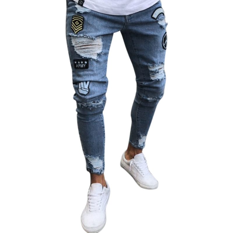 Fashion Street Wear Men'S Jeans Trend Knee Knee Hole Ripped Jeans Trousers Embroidered Jeans Mens Skinny Elastic Pencil Pants L