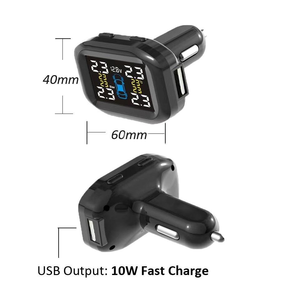 Visture TPMS Mit 10W USB Ausgang Auto Reifendruck Alarm Monitor System Reifen Überwachung Externe Interne Sensor T05W T07W