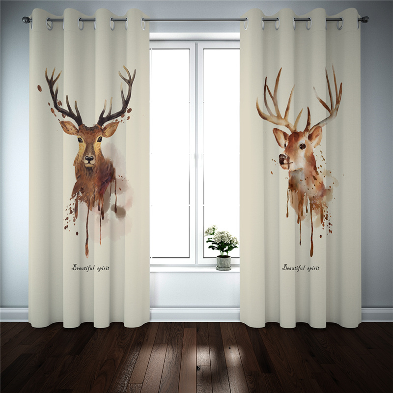 3D Animal Curtains Kitchen Bedroom Living Room Curtains For Window Treatments European Style Blackout Drapes Cortinas
