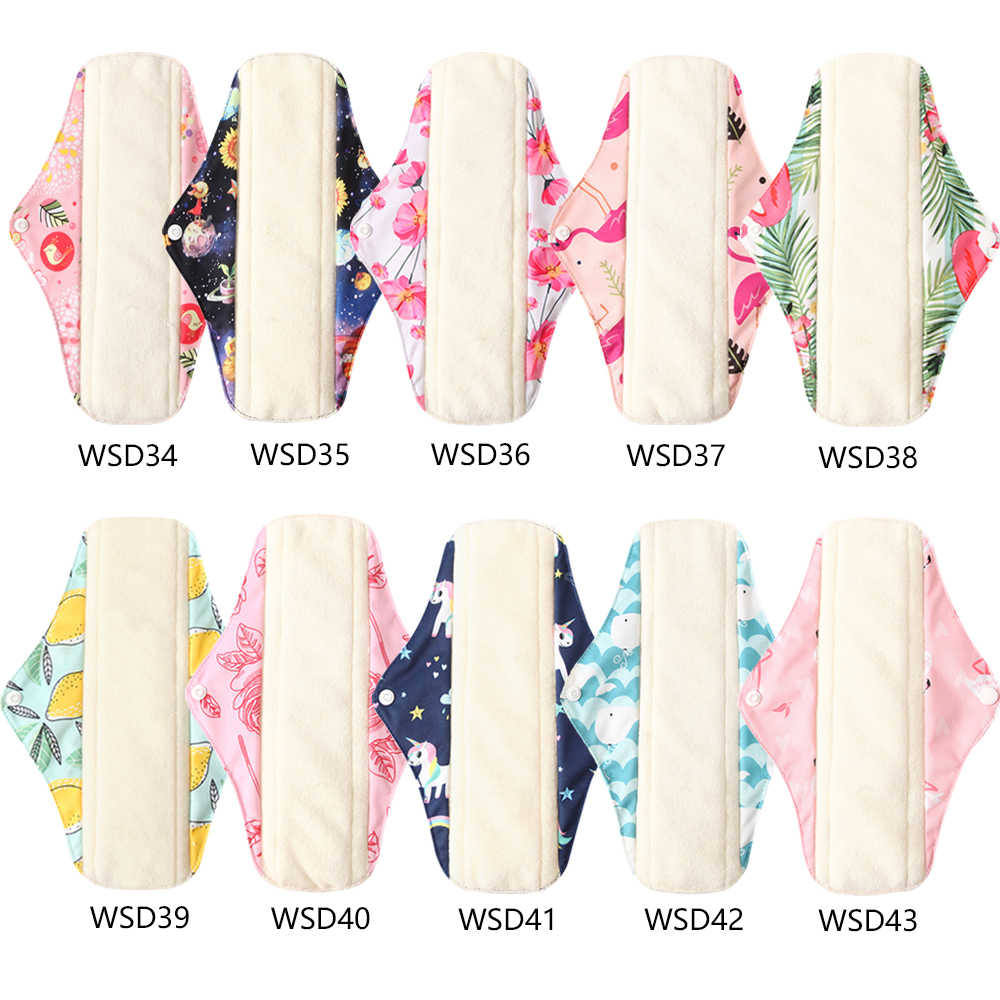 Washable Women Sanitary Pad Menstrual Napkins Pads Bamboo Charcoal Day Pad Flamingo Print Women Menstrual Feminine Pad Size M