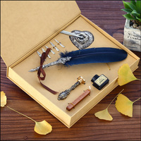 Gift Box Vintage Metal Curved Natural Turkey Feather ink Pen Set with 5 nibs, Pen stand, Stamp, Wax Quill Signature Pen