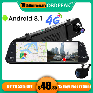 "Android 8.1 4G Car DVR 10"" Stream RearView Mirror FHD 1080P ADAS DashCam Camera Video Recorder Auto Registrar Dash cam GPS DVRS(China)"