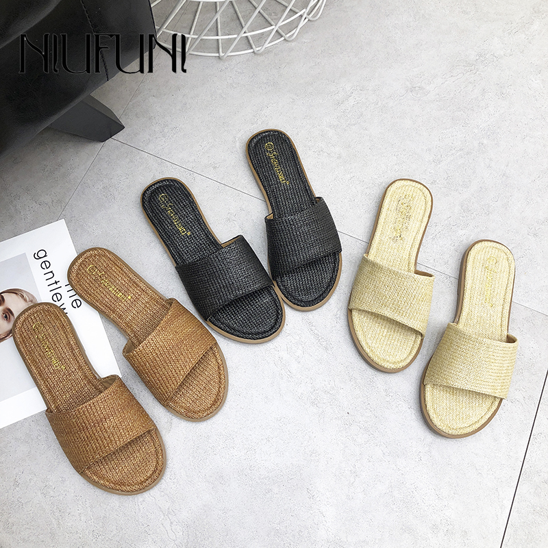 Women's Peep Toe Low Heel Slippers NIUFUNI Summer Cane Woven Rattan Grass Sandals Beach Shoes Women's Sandals Flat Shoes Slides