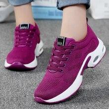 Içi boş hava yastığı kadın tenis ayakkabıları mor Zapatos Mujer nefes örgü dantel up Sneakers yumuşak kadın spor koşu ayakkabıları