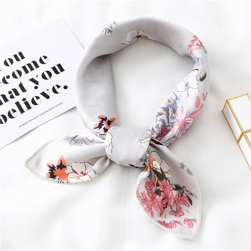 New 2020 Small Women Scarf Fashion Summer Silk Scarves Square Elegant Head Neck Feel Satin Scarfs Skinny Retro Hair Tie Band