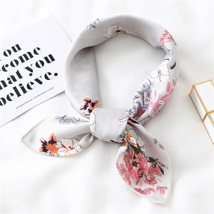 Image 1 - New 2020 small women scarf fashion summer silk scarves square Elegant Head Neck Feel Satin Scarfs Skinny Retro Hair Tie Band