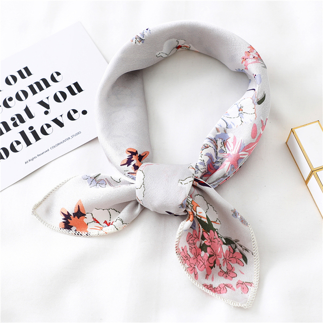New 2020 small women scarf fashion summer silk scarves square Elegant Head Neck Feel Satin Scarfs Skinny Retro Hair Tie Band
