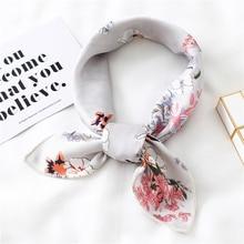Petit foulard en soie pour femmes, foulard carré, élégant, en Satin, slim, rétro, bandeau à nouer pour cheveux, nouvelle collection 2020