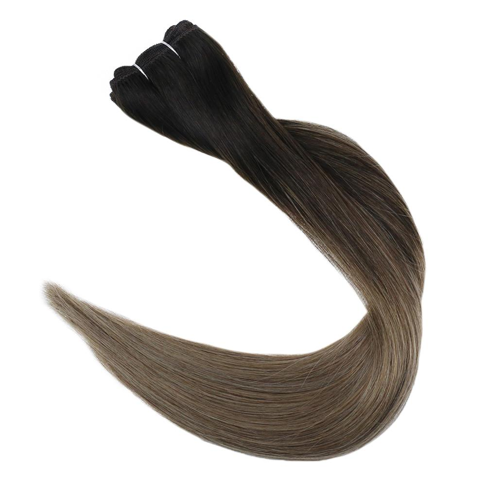 Full Shine Hair Bundles Balayage Dip Dyed Color #2/8 Hair Weft 100g Sew in Ribbon Hair Extensions 100% Machine Made Remy Hair
