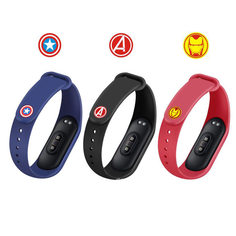Marvel <font><b>Avengers</b></font> Metal Button For Xiaomi <font><b>Mi</b></font> <font><b>Band</b></font> <font><b>4</b></font> 3 Band4 Band3 Smart Wristband Miband Silicone Wrist <font><b>Strap</b></font> Belt Buckle Bracelet image