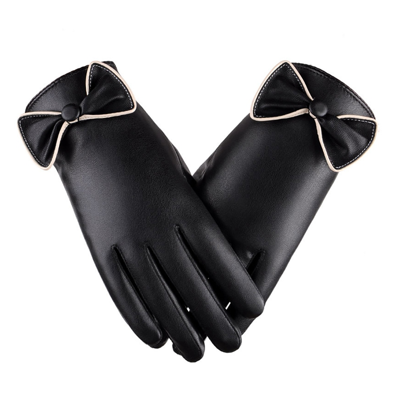 Lady Fashion Elegant Bowknot Driving  High Quality PU Gloves Leather Winter Comfortable Full Finger Thermal Gloves Ski Gloves ZW