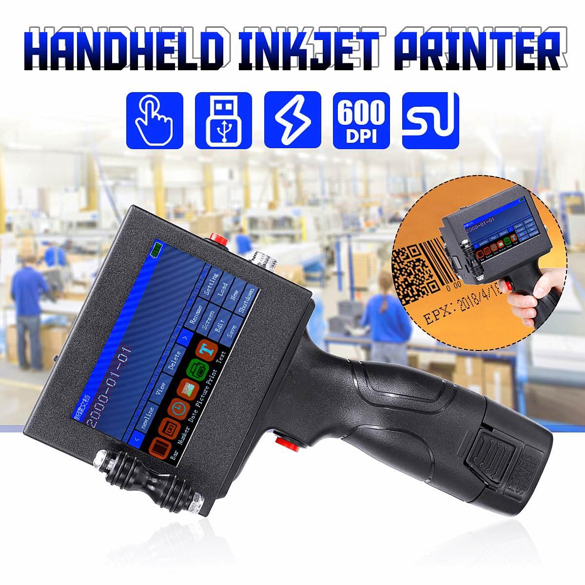 Portable LED Touch-Screen Handheld Printer 600DPI Intelligent USB QR Code Inkjet Label Printer High Quality Coding Machine Tools