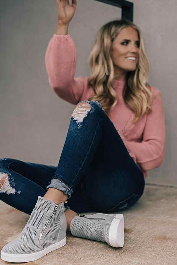 Zapatos casuales de mujer de cuero 2019 de Wedge de moda con cremallera lateral zapatillas antideslizantes para mujer