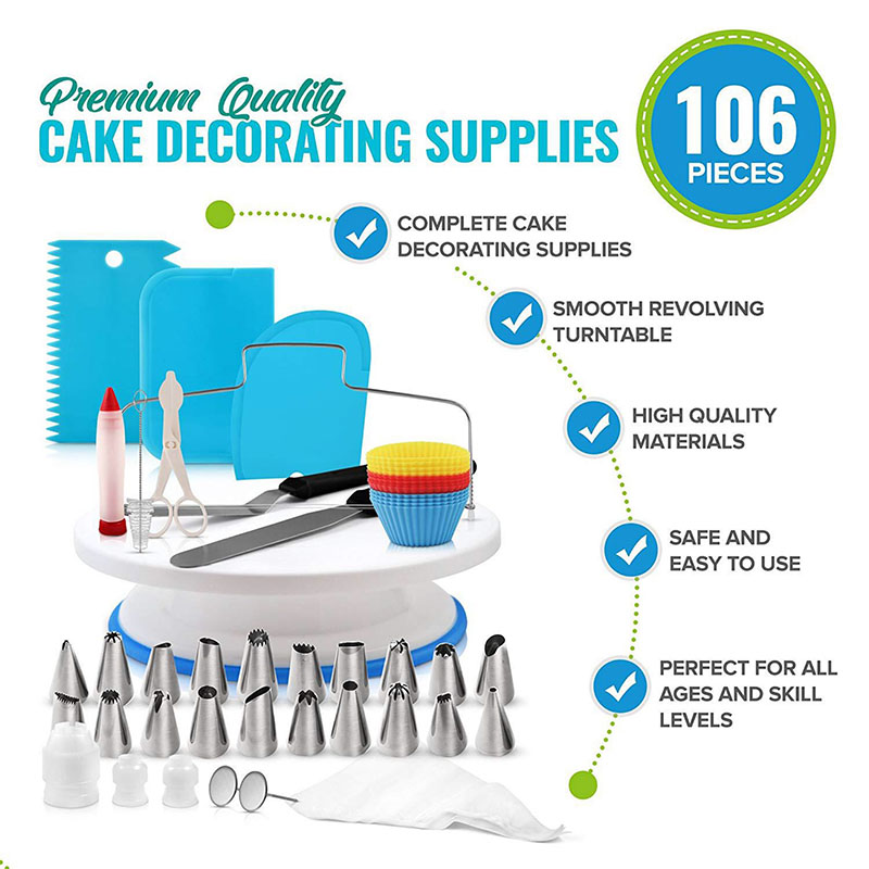 124pcs/set Cake Decorating Tools Kit Icing Piping Nozzles For Cream Piping Bag Cake Stand Turnable Kitchen Baking Tools
