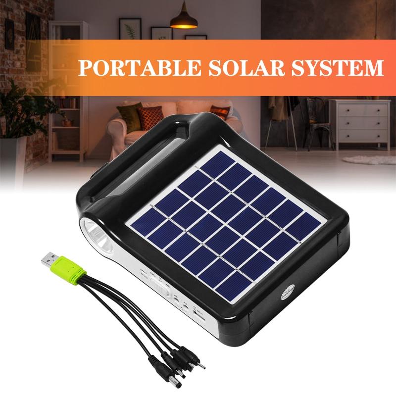 6v painel solar de energia usb carregador armazenamento gerador sistema casa kit recarregavel 9w 2400mah abs