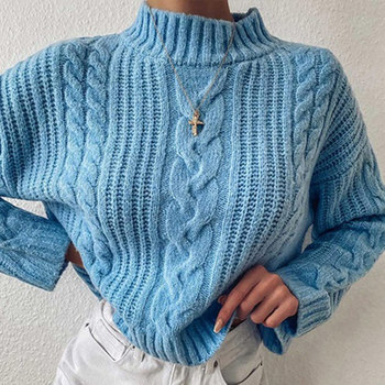 Solid Twist Turtleneck Knitted Pullover Sweaters Women Long Sleeve Casual Loose Lady Sweater 2020 Winter Female Knitwear Clothes seily winter 2019 letter computer knitted yellow turtleneck sweater women zipper high neck long sleeve knitwear pullover sweter
