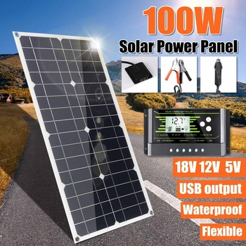 100W 18V Mono Solar Panel USB 12V/5V DC Monocrystalline Flexible Solar Charger For Car RV Boat Battery Charger Waterproof 1