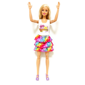 Rainbow Dress Outfit Set for Barbie Girl   BJD Doll Clothes Accessories Play House Dressing Up  Kids Toys fur coat dress outfit set for barbie 1 6 bjd sd doll clothes accessories play house dressing up costume