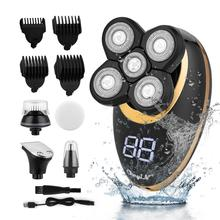 5 in1 Electric Shaver Floating Heads Men USB Rechargeable Washable Bald Hair Clipper Beard Nose Ear Hair Trimmer Shaving Machine