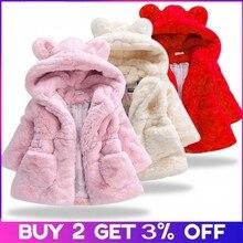 Новинка года; зимняя одежда для маленьких девочек флисовое пальто с искусственным мехом пышная теплая куртка Рождественский зимний комбинезон; От 1 до 8 лет куртка с капюшоном для малышей; верхняя одежда