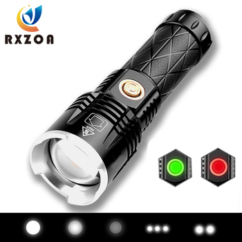 super bright 4 core p50 led flashlight 4 lighting modes telescopic zoom support one key to close suitable for outdoor Super Bright LED Flashlight USB 4-core P90 Torch Waterproof 26650 Lantern Telescopic Zoom Portable Outdoor Camping Flash Lamp