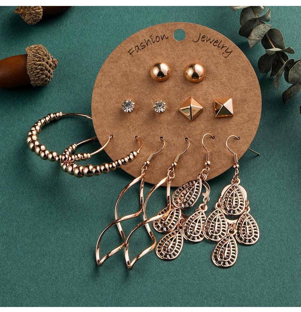 Bohemia Silver Earrings Set Vintage Ethnic Long Round Leaf Tassel Wedding Water Drop Earrings for Women Girls Statement Jewelry (1-1) (13)