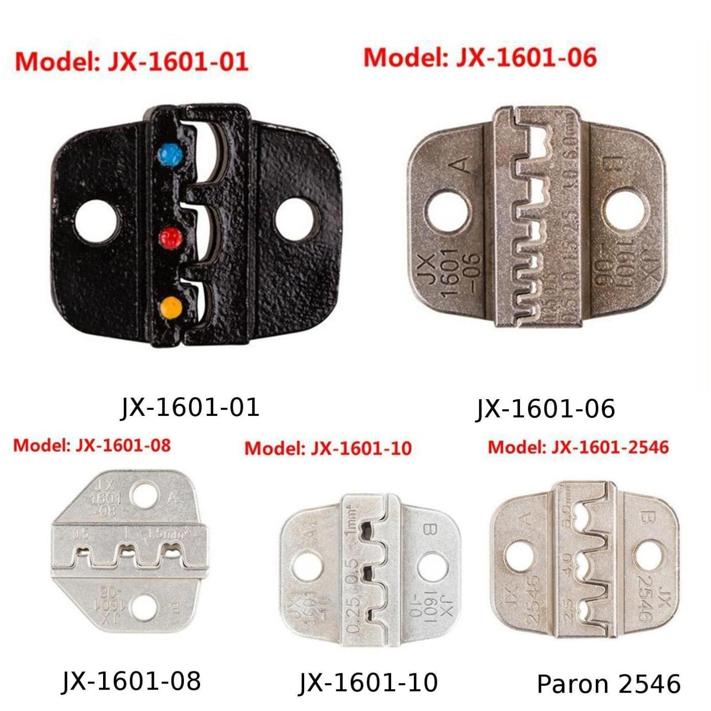 Alloy Steel Paron JX-1601-10 24-14 AWG Mold Jaw Wire Ferrule Die Crimping Plier Durable Tool Accessories