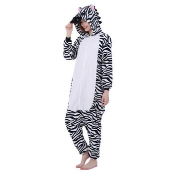 Kostium na Halloween Anime Cosplay Kigurumi dorosły Zebra Onesies kombinezon ciepłe piżamy z kapturem dla kobiet mężczyzn tanie i dobre opinie imlomi Kombinezony i pajacyki Unisex Dla dorosłych Zestawy Chiyo mihama Animal Poliester Kostiumy