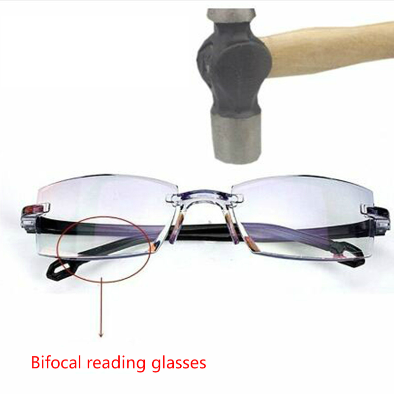 Anti Blue Light Radiation Bifocal Reading Glasses Rimless Multifocal Presbyopic Glasses Presbyopia Magnification Diamond Cutting