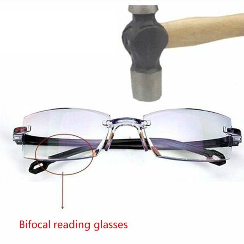 Anti Blue Light Radiation Bifocal Reading Glasses Rimless Multifocal Presbyopic Glasses Presbyopia Magnification Diamond Cutting