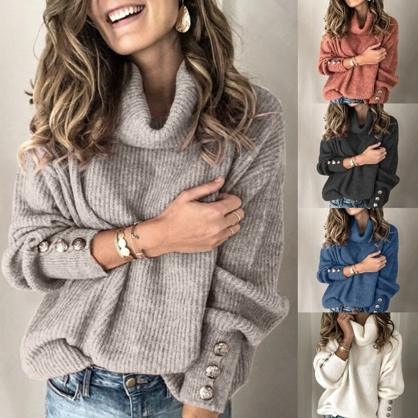 2019 Plus Size Sweaters Women Fashion Turtleneck Warm Knitted Sweater Winter Autumn Long Sleeve Rivet Pullover Sexy Tops Jumper