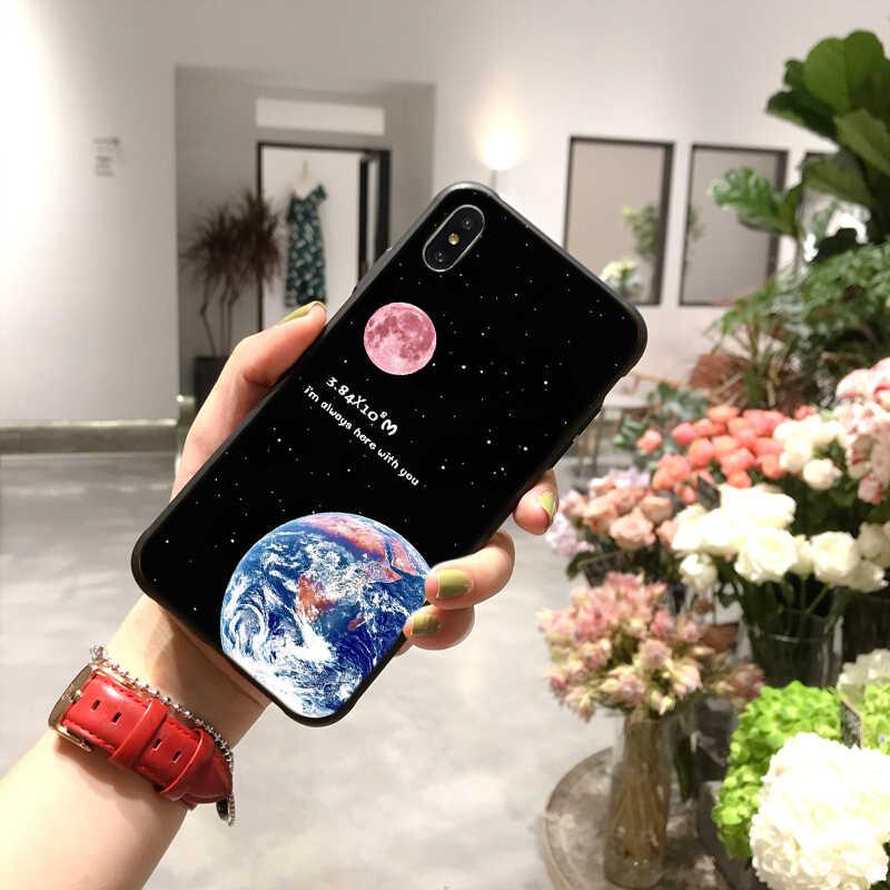Terra lua planeta céu estrelado avião telefone capinhas para iphone 11 pro max 6s 7 8 plus x xr xs max pc casal estrelado matte capa