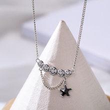 ANENJERY 925 فضة خمر الوجه المبتسم قلادة للنساء الأسود الزركون ستار التايلاندية الفضة والمجوهرات هدية S-N625