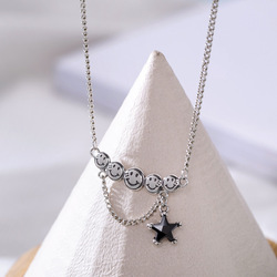 ANENJERY 925 Sterling Silver Vintage Smiling Face Necklace For Women Black Zircon Star Thai Silver Jewelry Gift S-N625