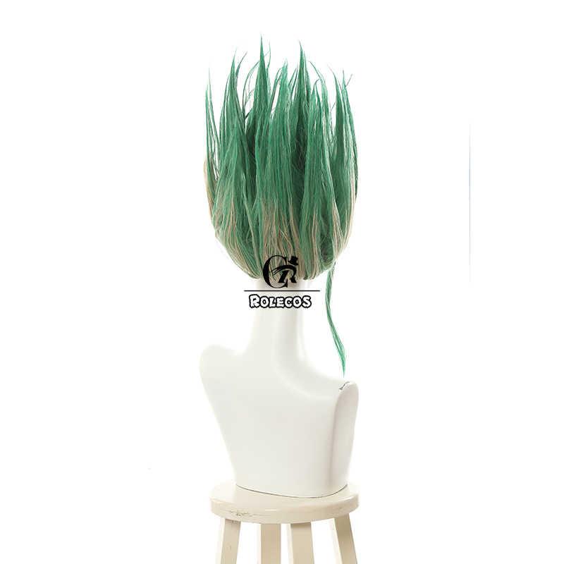 ROLECOS Anime Dr. Stone Cosplay Hair Senku Ishigami Short Synthetic Hair Senkuu Cosplay Headwear Mix Green Straight Men Hair