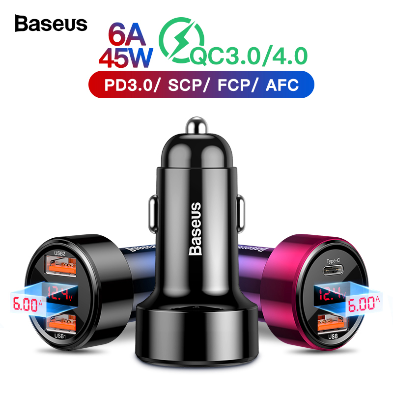 Baseus Quick Charge 4.0 3.0 USB Car Charger For iPhone Xiaomi Mi Sumsung Mobile Phone QC4.0 QC3.0 QC Type C PD Fast Car Charging