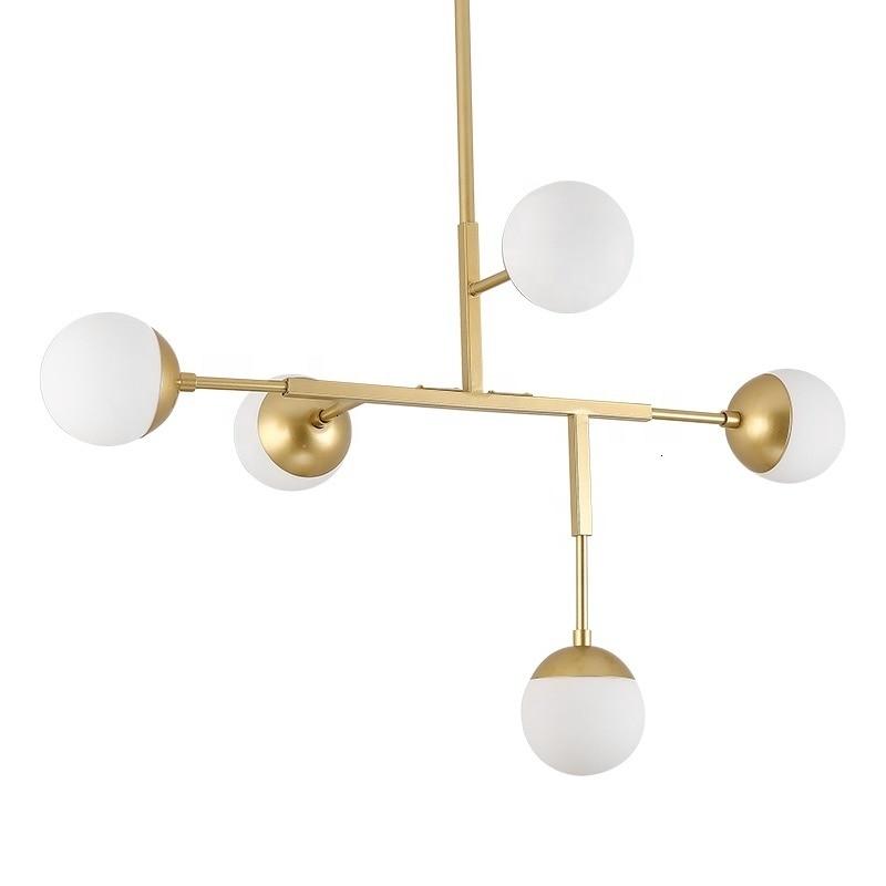Nordic loft moderno decorativo moldura de ouro bola vidro pingente luz para sala estar lamparas techo colgante luminária suspendu