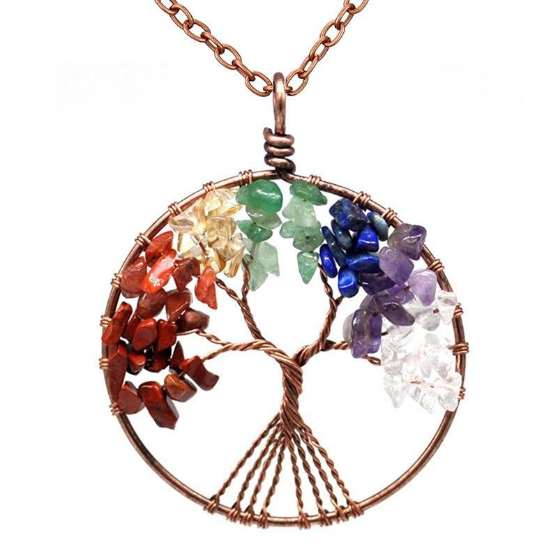 7 Chakra Quartz Natural Stone Tree of Life pendulum Pendant Necklace for Women  Healing Crystal Necklaces Pendants Reiki Jewelry 2