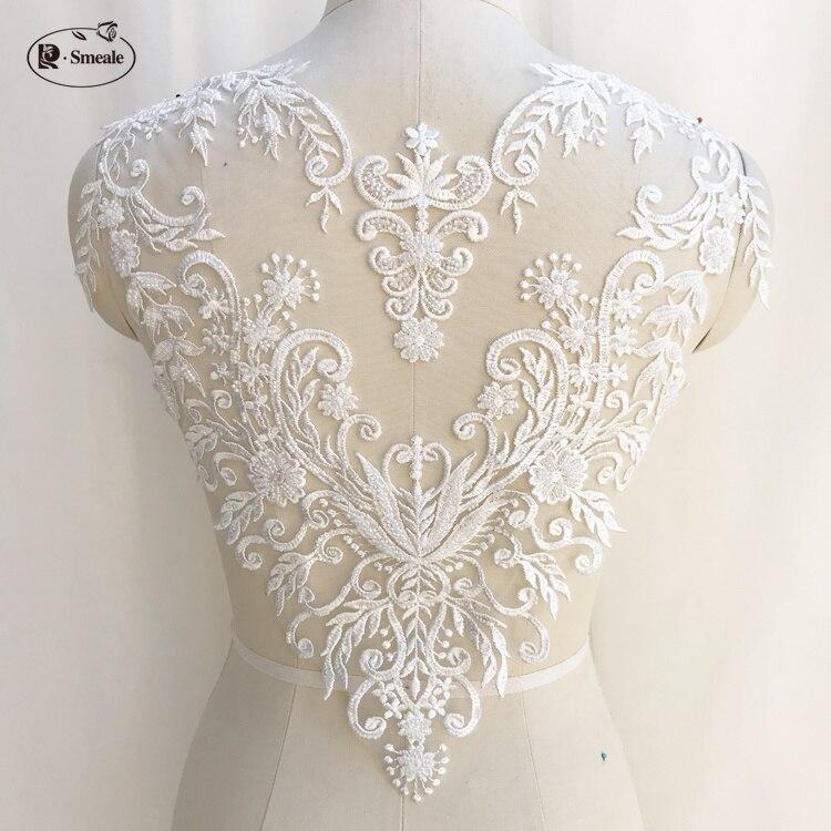 Französisch Spitze Handgemachte Perlen 3D Hochzeit Kleid Applique DIY Braut Kopfschmuck Elfenbein Weiß Spitze Kragen Spitze Stoff Patch RS1234