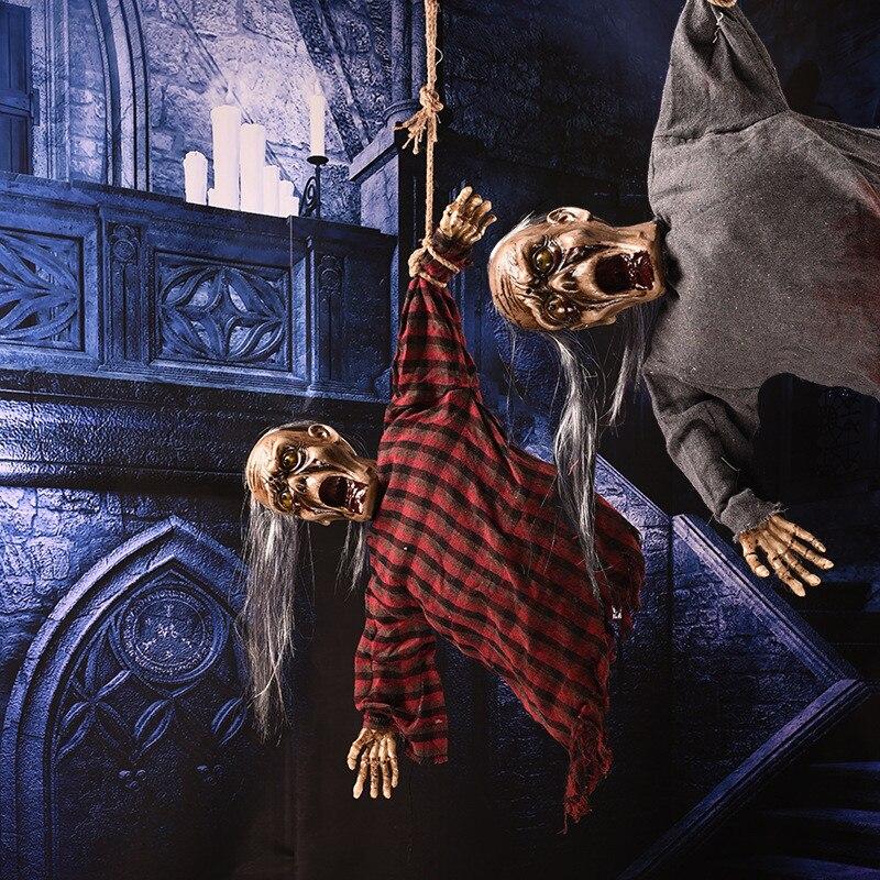 Controle de som assustador esqueleto animado fantasma halloween horror adereços cabelo longo pendurado fantasma decorações de halloween presente