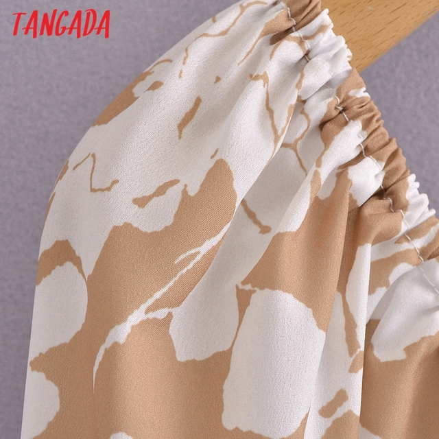Tangada 2021 Summer Women Floral Print Short Dress Square Neck Short Sleeve Ladies Mini Dress Vestidos 3A148 2